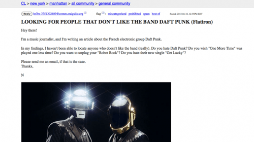 Music Journalist Seeks Anyone Who Does NOT Like Daft Punk on Craigslist