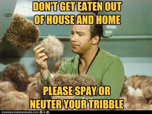 tribbles,spay and neuter,Star Trek,William Shatner