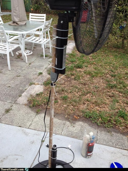 """My Husband """"Fixed"""" His Fan With an Old Broom Handle"""
