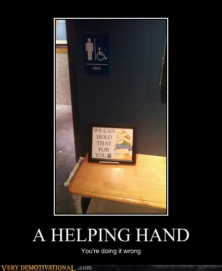 Mens Room,table,helping hand