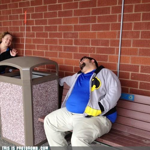 asleep,batman,park bench
