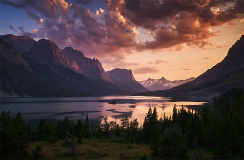 Sunset at St. Mary Lake, Glacier National Park, Montana.