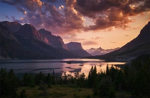 Sunset at St. Mary Lake, Glacier National Park, Montana.