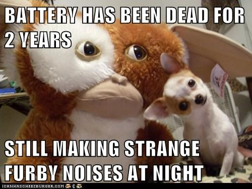 BATTERY HAS BEEN DEAD FOR 2 YEARS  STILL MAKING STRANGE FURBY NOISES AT NIGHT