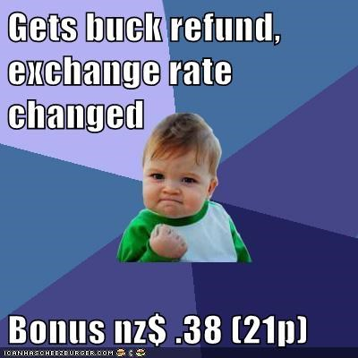 Gets buck refund, exchange rate changed  Bonus nz$ .38 (21p)