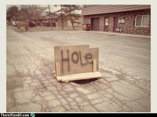 holes,signs,potholes
