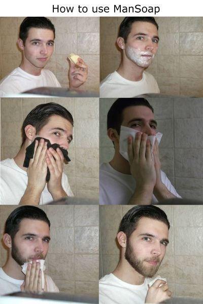 men,facial hair,soap