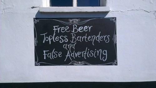 false advertising,signs,free beer