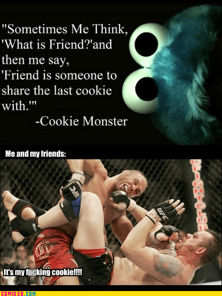sharing,Cookie Monster,ufc,cookies,funny