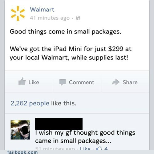 small is good,Walmart,small peen,failbook