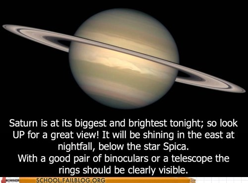 CHECK OUT SATURN TONIGHT!