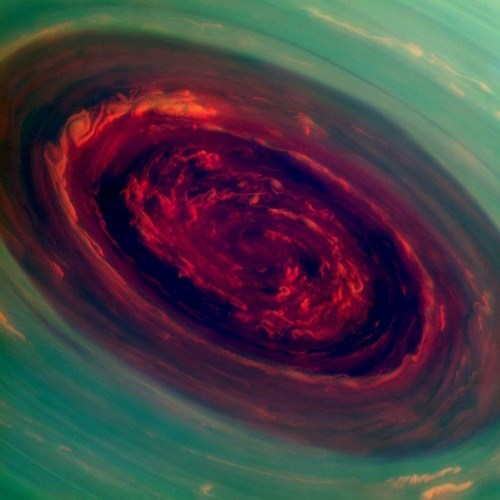 Altered-Color Image of Saturns Hurricane...Just Awesome