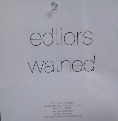 Desperately Seeking Editors