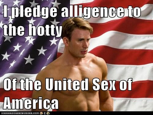 I pledge alligence to the hotty  Of the United Sex of America