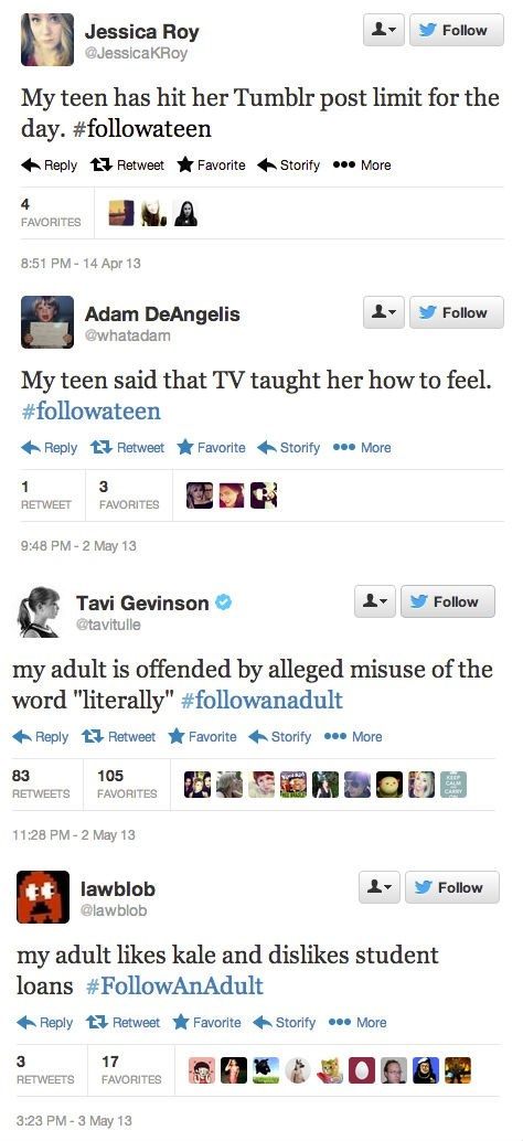 Hashtag of the Day: #FollowATeen / #FollowAnAdult