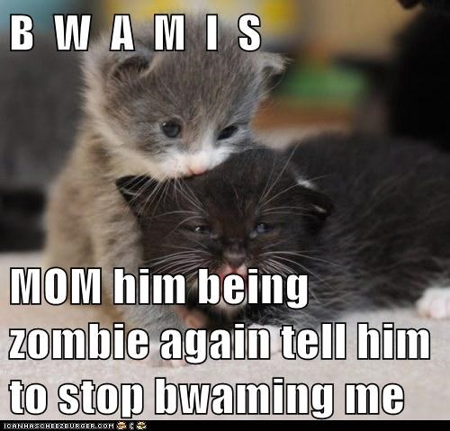 B  W  A  M  I  S   MOM him being zombie again tell him to stop bwaming me