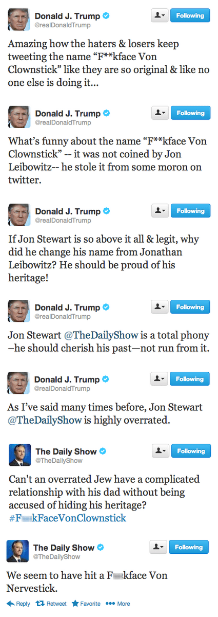 twitter,donald trump,jon stewart,the daily show,failbook