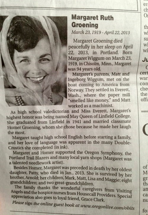 "The Obituary for Matt Groening's Mom Will Look Familiar to ""Simpsons"" Fans"