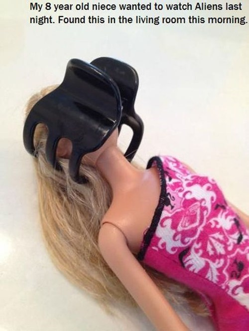 Barbie,alien,hair clip,parenting,funny