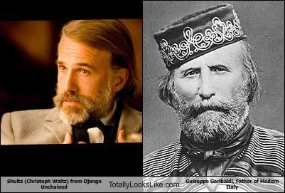Shultz (Christoph Waltz) from Django Unchained Totally Looks Like Guiseppe Garibaldi, Father of Modern Italy