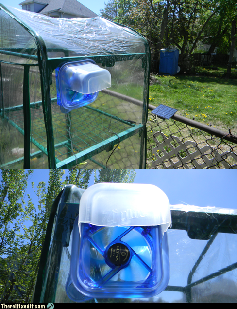 Solar Fan Moderates Mini-Greenhouse