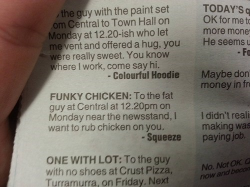 chicken,creepy,personal ad,newspaper,funny,dating