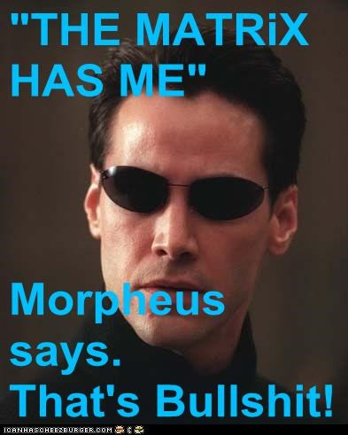 """THE MATRiX HAS ME""   Morpheus says.         That's bullsh*t!"