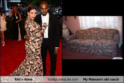 Kim's Dress Totally Looks Like My Mamaw's old couch