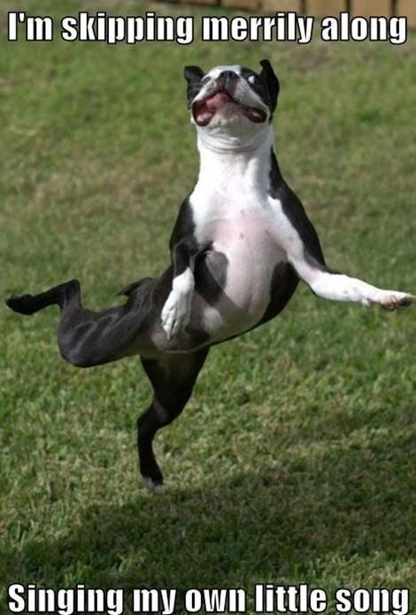 skipping,happy,funny