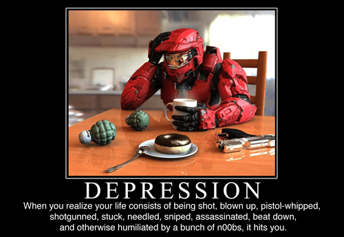 master chief,noobs,depression,video games,funny
