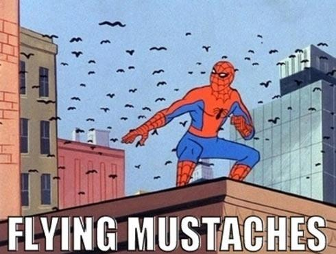 mustache,Spider-Man,funny,flying