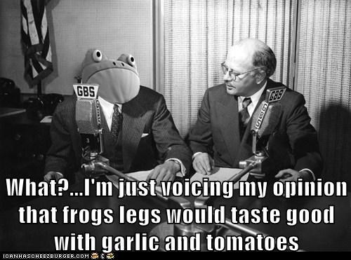 What?...I'm just voicing my opinion that frogs legs would taste good with garlic and tomatoes