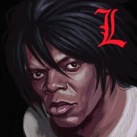wtf,anime,fan art,Samuel L Jackson,death note