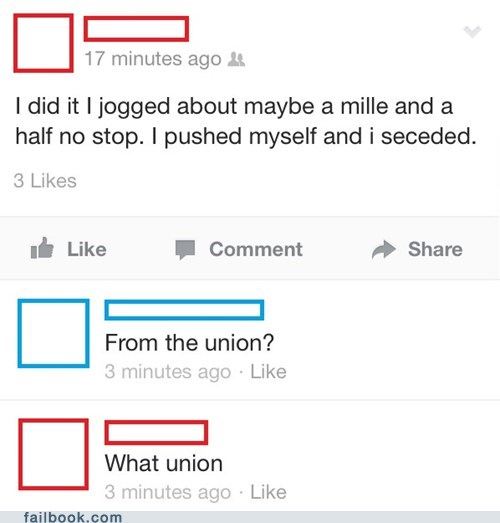 typo,jogging,secession,word choice,success,union,civil war,funny