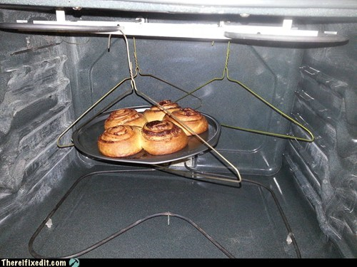 hangers,clever,cinnamon rolls,food,funny,g rated,there I fixed it