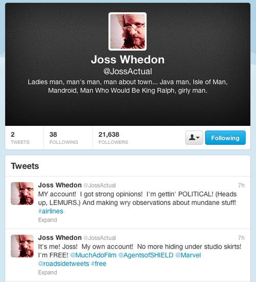 Go Forth and Follow Joss Whedon on Twitter!