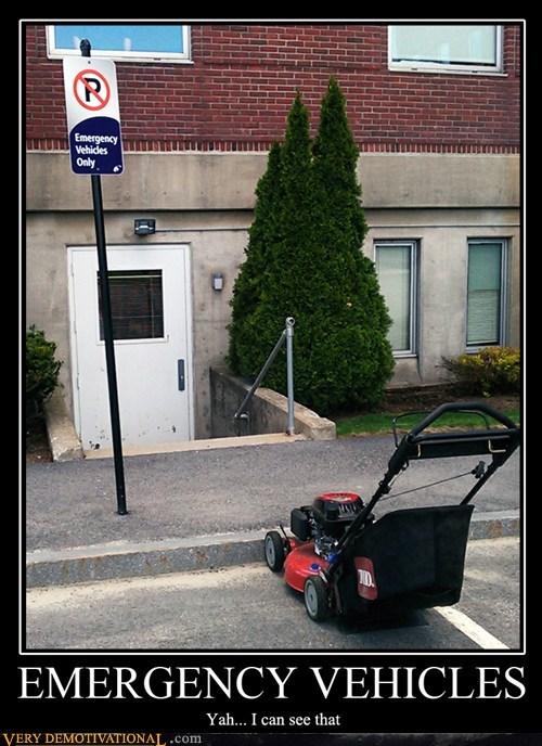 emergency,lawn mower,grass,parking,funny