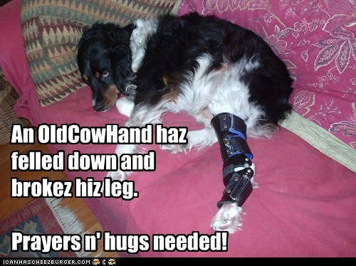 AOCH fell thru his porch Saturday. Leg is broke bad. Surgery on Tuesday. Send him prayers n' hugs pleese!