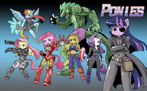 crossover,art,my little pony,The Avengers,funny