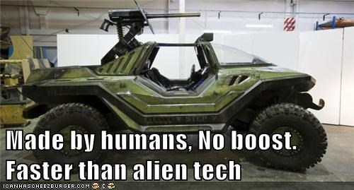 Made by humans, No boost. Faster than alien tech