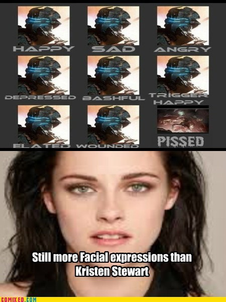 What doesn't have more facial expressions?