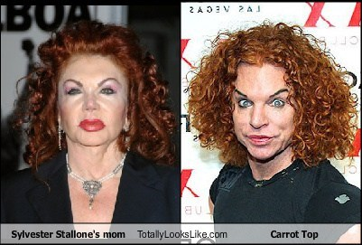 Sylvester Stallone's mom Totally Looks Like Carrot Top
