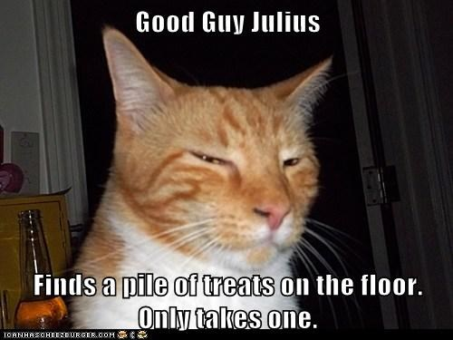 Good Guy Julius  Finds a pile of treats on the floor. Only takes one.