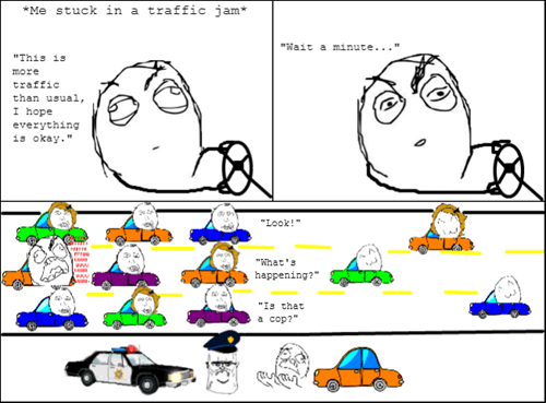 Everyone Slows Down Until They Pass the Cop