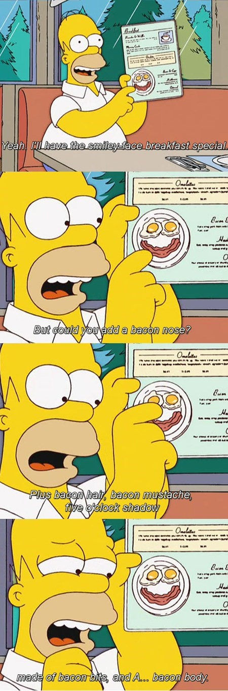 homer simpson,the simpsons,funny,bacon