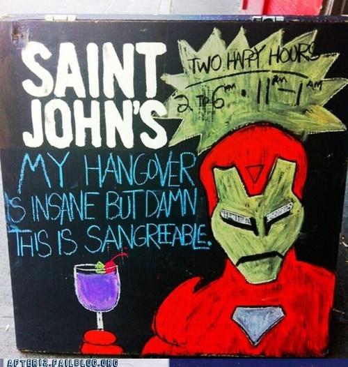 bar,sign,sangria,iron man,hangover,funny