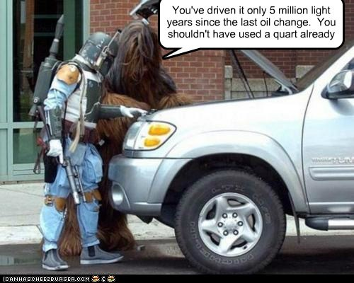 You've driven it only 5 million light years since the last oil change.  You shouldn't have used a quart already