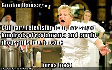 Gordon Ramsay:  Culinary Television Icon, has saved hundreds of restaurants and taught thousands how to cook burns toast