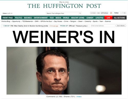 huffpo,news headlines,headlines,Anthony Weiner,funny,monday thru friday