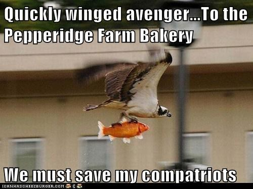 Quickly winged avenger...To the Pepperidge Farm Bakery  We must save my compatriots